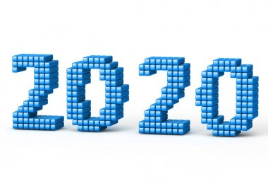 Concept of 2020 New Year text, made from cubes or pixels or texels, isolated on white background with shadows. 3D Render