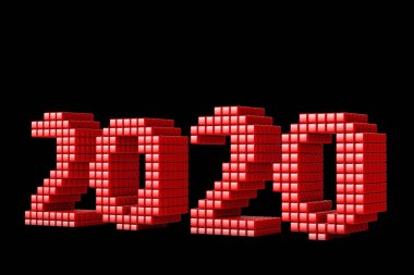 Concept of 2020 New Year text, made from cubes or pixels, or texels isolated on black background. 3D Render