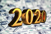 Concept of gold 2020 New Year text on maoney dollars background. 3D Render