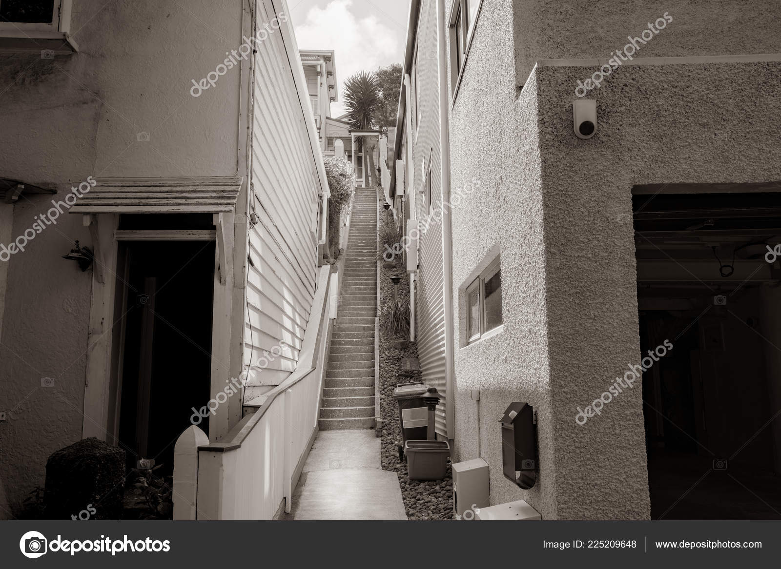 Stairs Leading Upwards Two Tall Walls Monochrome Stock Photo