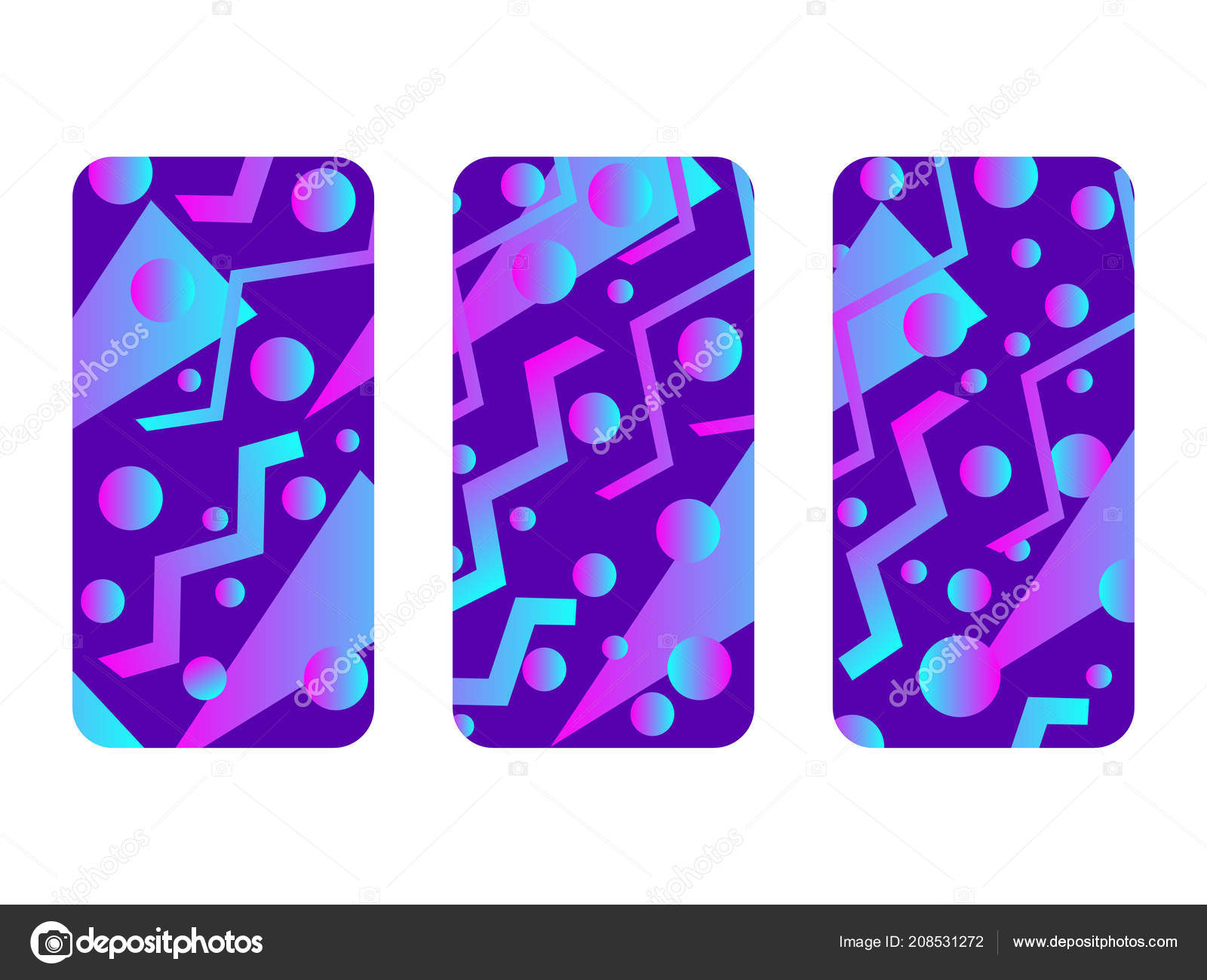 00df3f4e3806cd Phone Case Mockup Memphis Pattern Background Gradients Geometric Shape  Style — Stock Vector