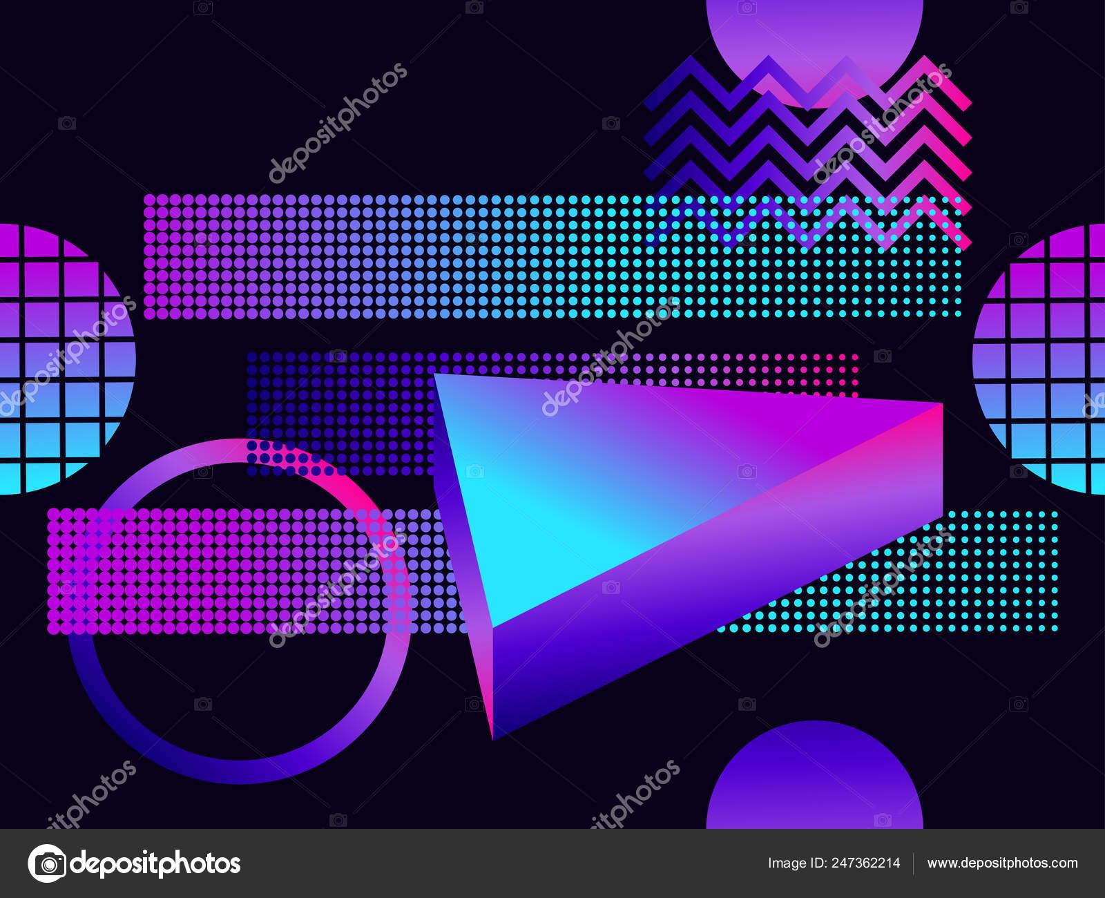 Futuristic Seamless Pattern Geometric Shapes Gra nt Purple Tones