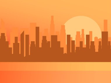 City sunrise. Contour of skyscrapers, panorama of the city. Vector illustration