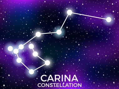 Carina constellation. Starry night sky. Cluster of stars and galaxies. Deep space. Vector illustration