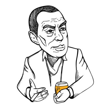 Vector stylized portrait of famous writer Erich Maria Remarque drinking alcoholic cocktail.