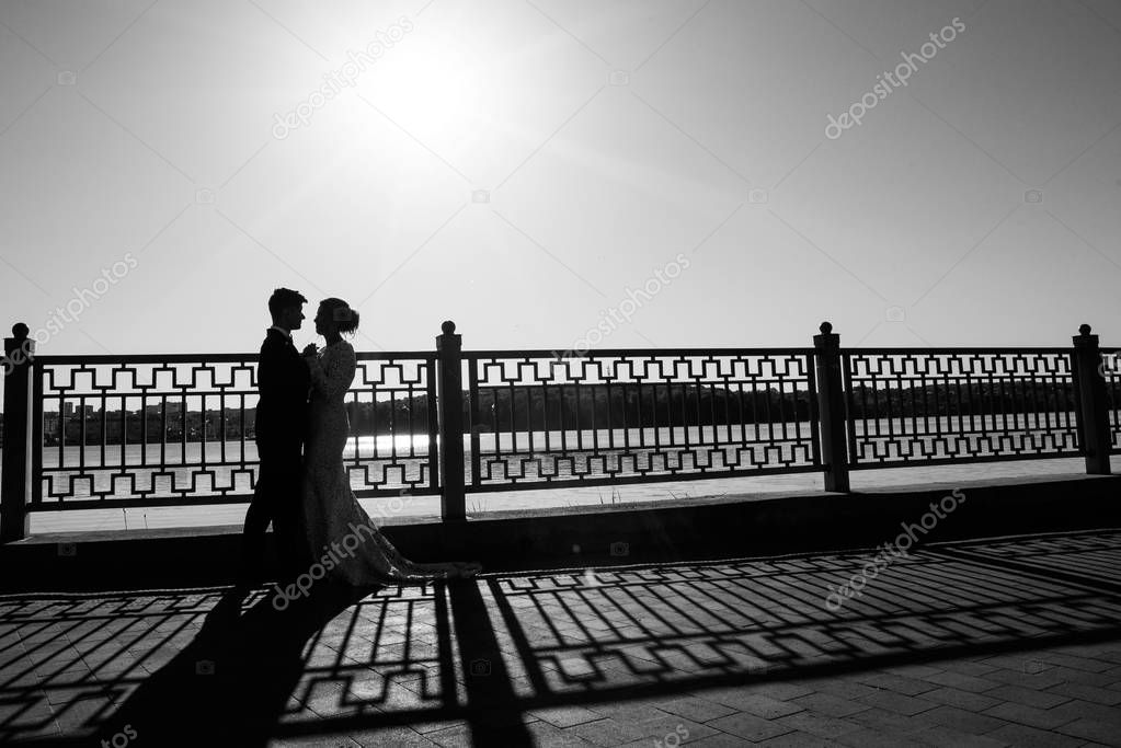 A young, sympathetic couple walking around the city on the background of the lake.