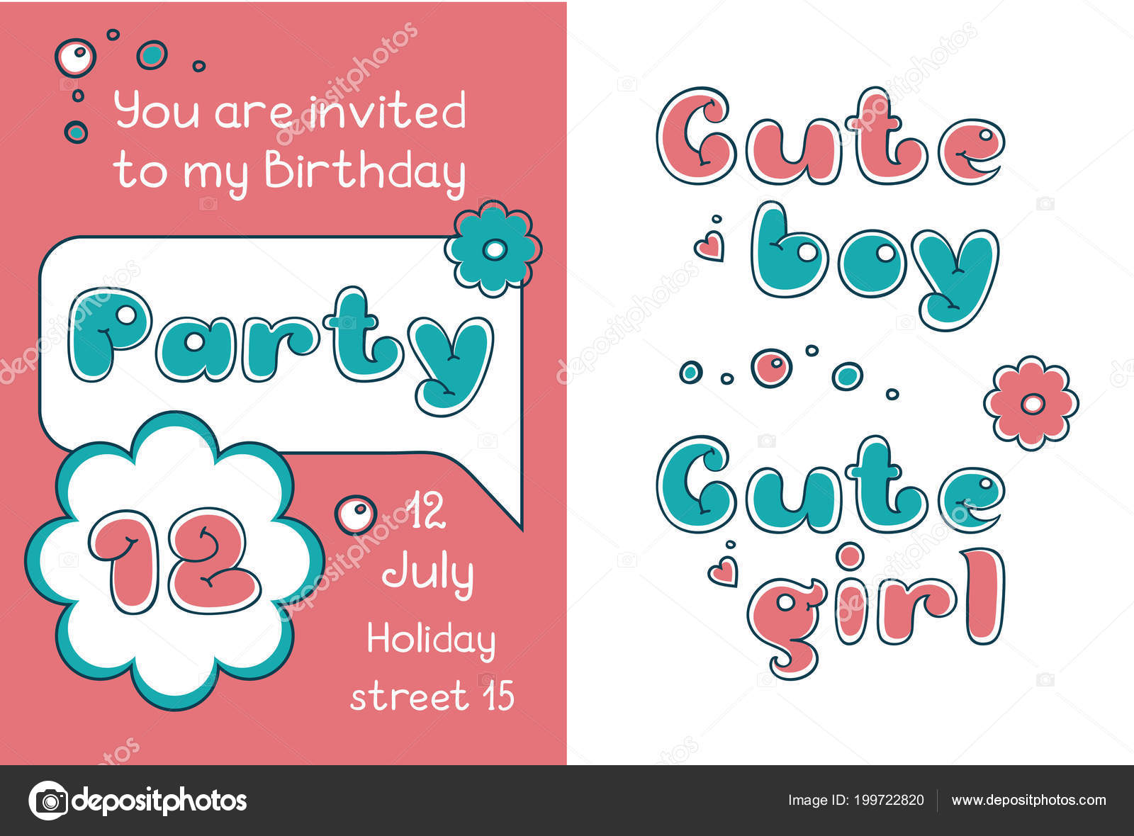 Invitation Birthday Party Cartoon Bubble Comic Style Cute