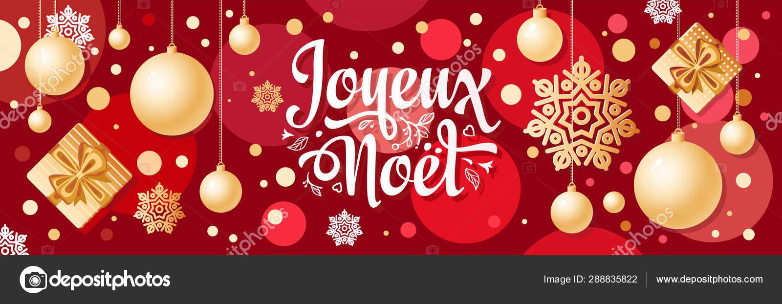 Christmas In French.Noel Christmas Banner French Xmas Design Joyeux Noel Stock