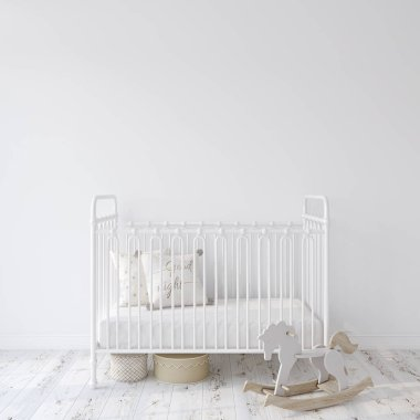 Farmhouse nursery. White metal crib near empty white wall. Interior mock-up. 3d rendering.