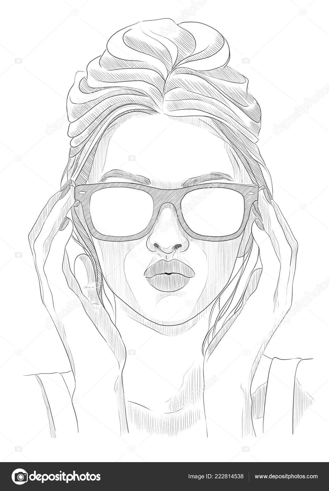 Fashion Girl Glasses Sketch Illustration Stock Photo C Maryswell