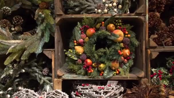 Showcase market christmas wreaths close-up cute festive decoration for new year