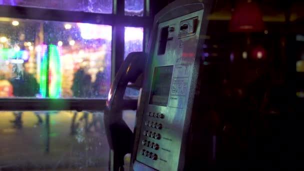 London red telephone booth night street illumination