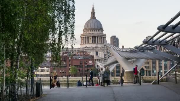 Daytime London People Walking, Millennium Bridge, St. Pauls cathedral.