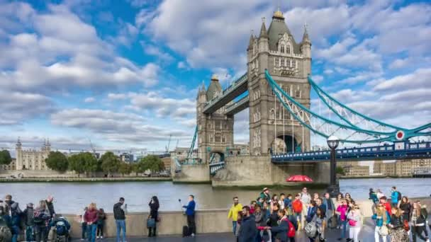 Day Time London Tower Bridge Promenade River Thames Time lapse.