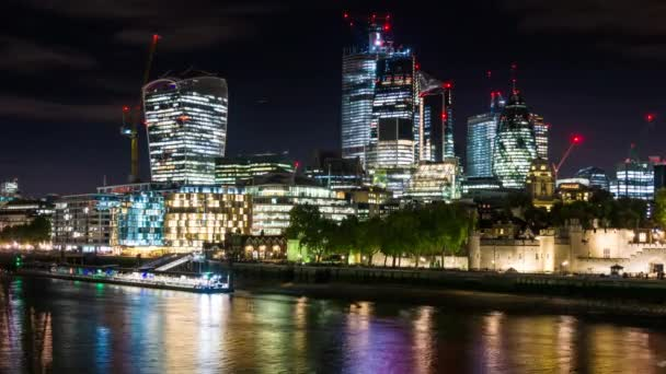 North bank of the River Thames, The City of London Financial District, night illumination, time lapse.