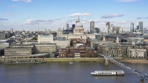 Panoramic Aerial View of London City, with St Pauls Cathedral and Millennium bridge, Timelapse