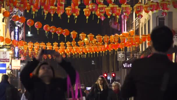 Night red decorative lanterns Chinatown London Soho Wardour street november 2018, London, UK