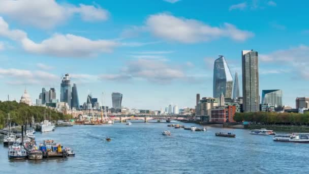 Panoramic View From Waterloo Bridge Showing Southbank The City Of London And Canary Wharf In The Distance