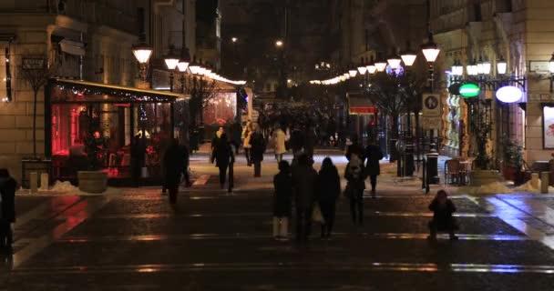 Budapest street scene at night time