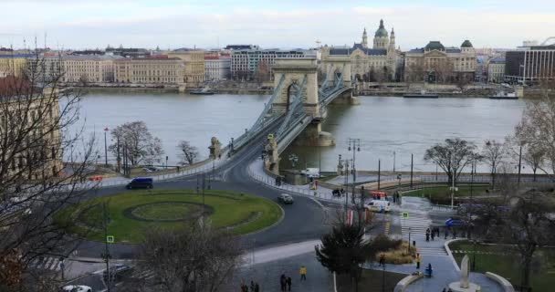 Aerial view of Budapest city scene with Chain Bridge over Danube river