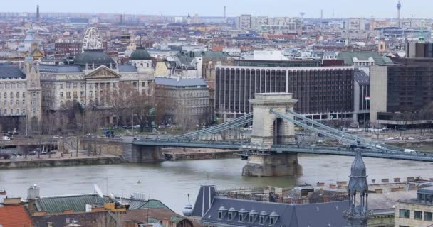 Aerial view of Budapest at with Chain Bridge on Danube