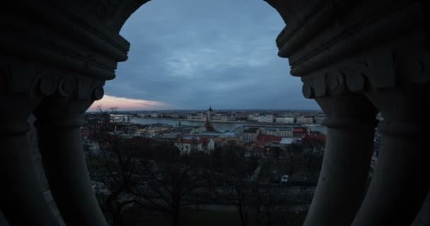 Aerial view of beautiful old Budapest city behind the column
