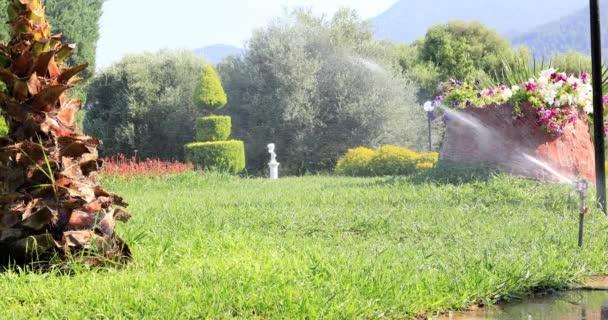 Zahradní postřikovače při zalévání zelený trávník za slunečného letního dne