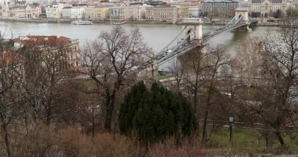 Aerial view of Chain Bridge over Danube river in Budapest 3