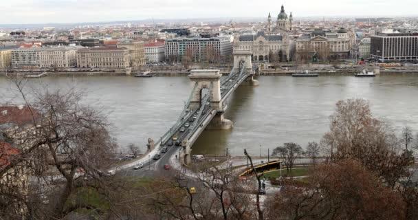 Chain Bridge over Danube river and Budapest city traffic 2
