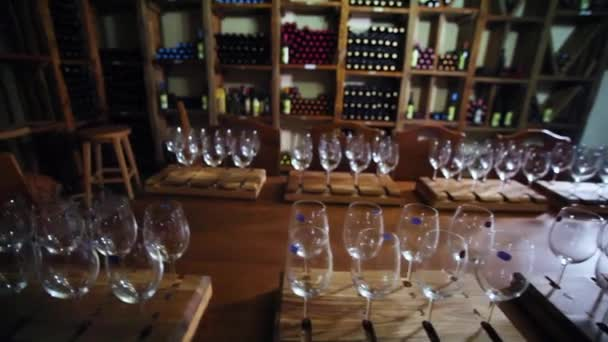 Wine tasting in the wine cellar. Winemaking. Wine production.