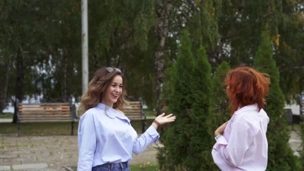 Two beautiful women with chestnut and red hair emotionally communicate with each other. Women smile and laugh while communicating. Slow motion.