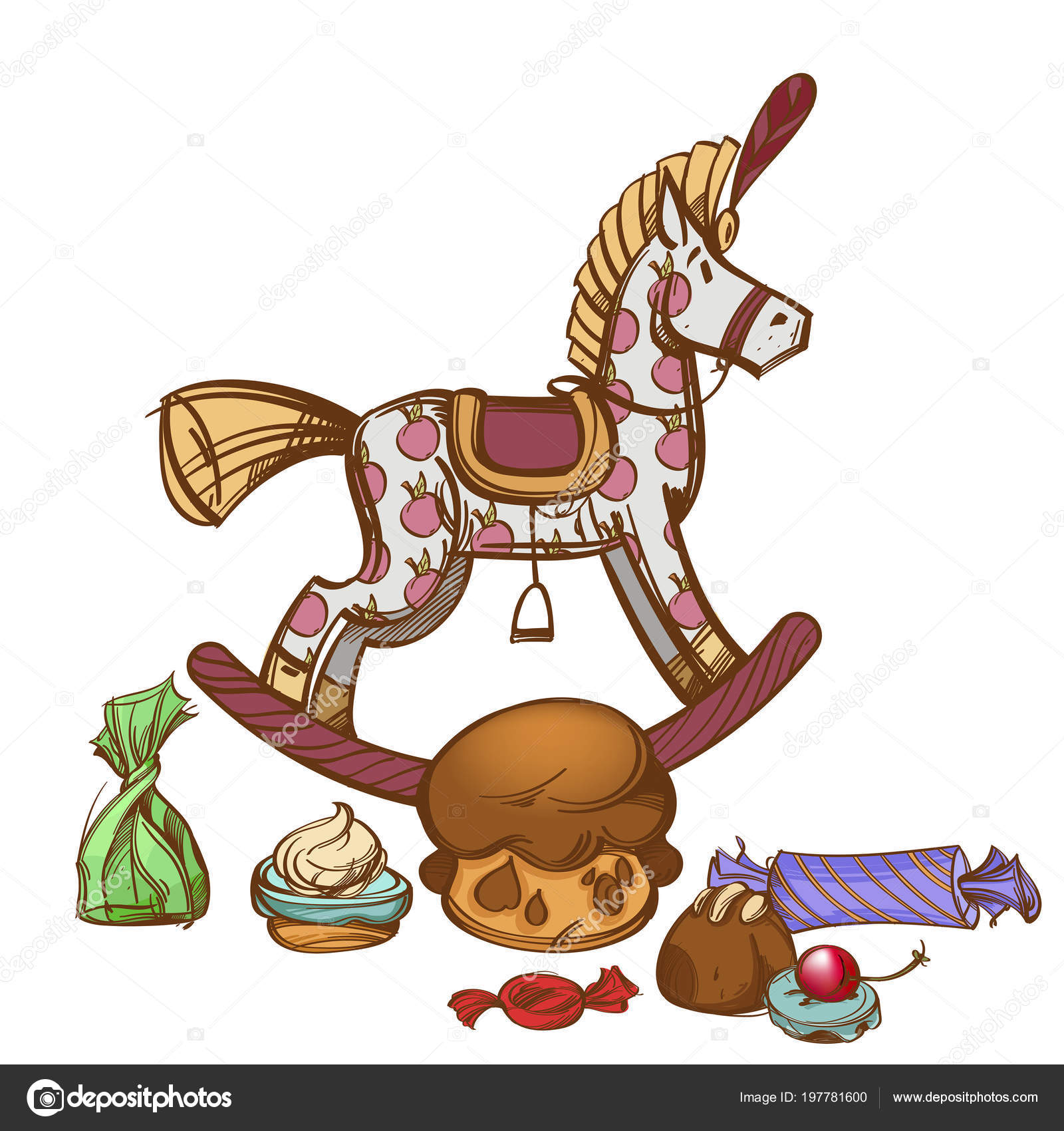 Vintage Wooden Rocking Horse Sweets Decorative Element Festive Design Hand Stock Vector C Filkusto 197781600