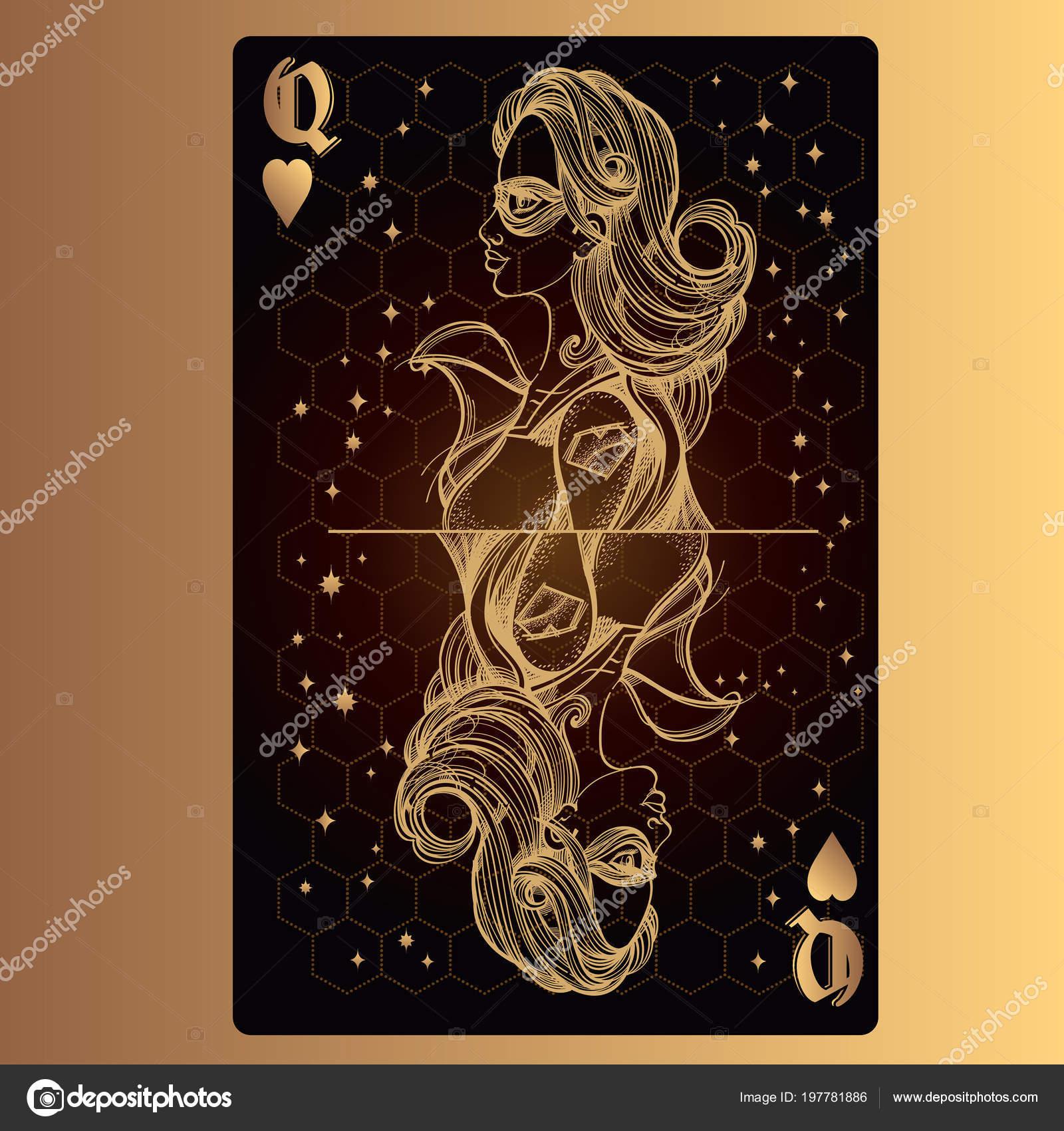 Queen Hearts Playing Card Original Design Theme Space Stock Vector
