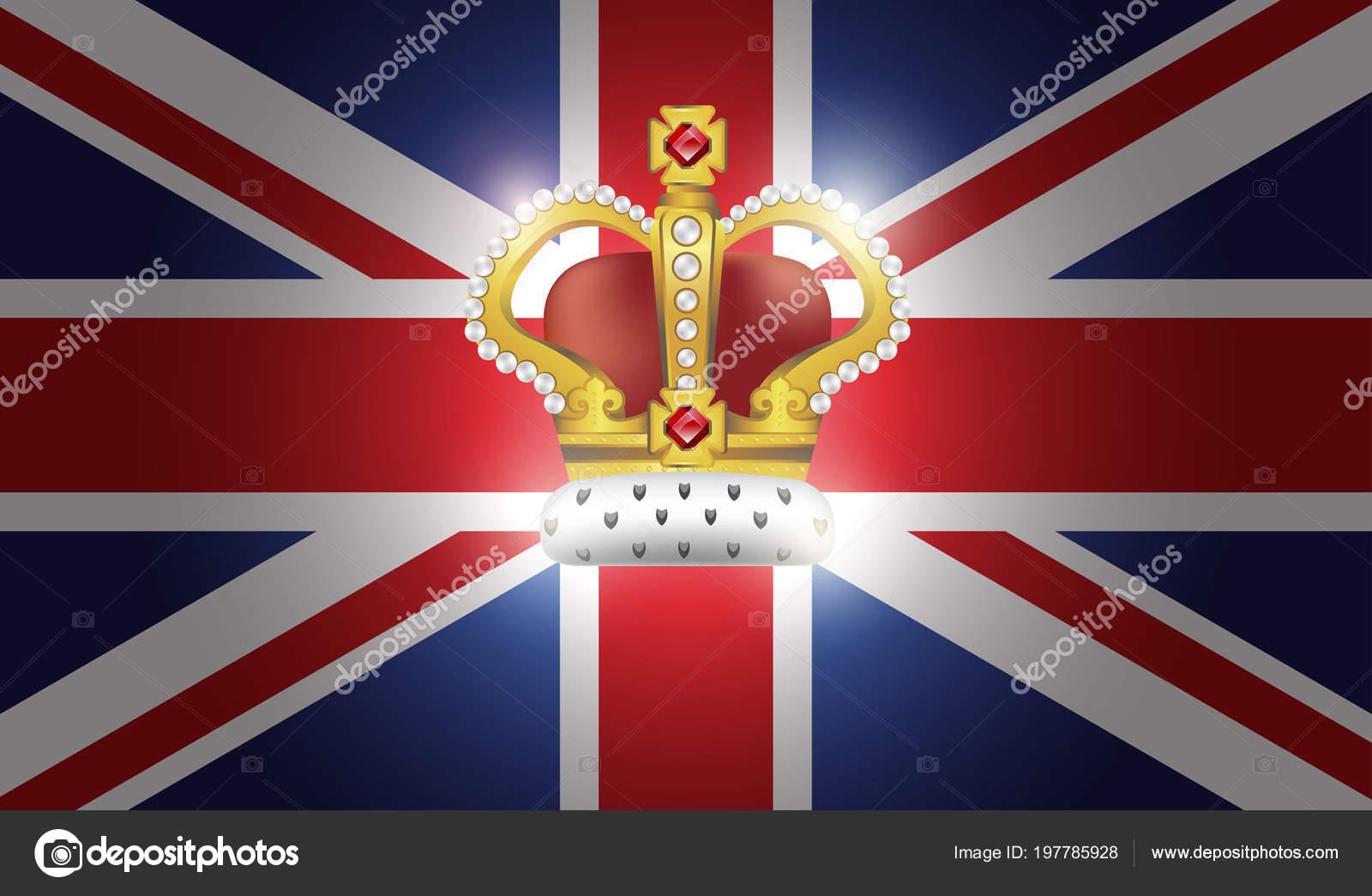 Foto Bandiera Inglese Con Corona Sfondo Con Bandiera Britannica