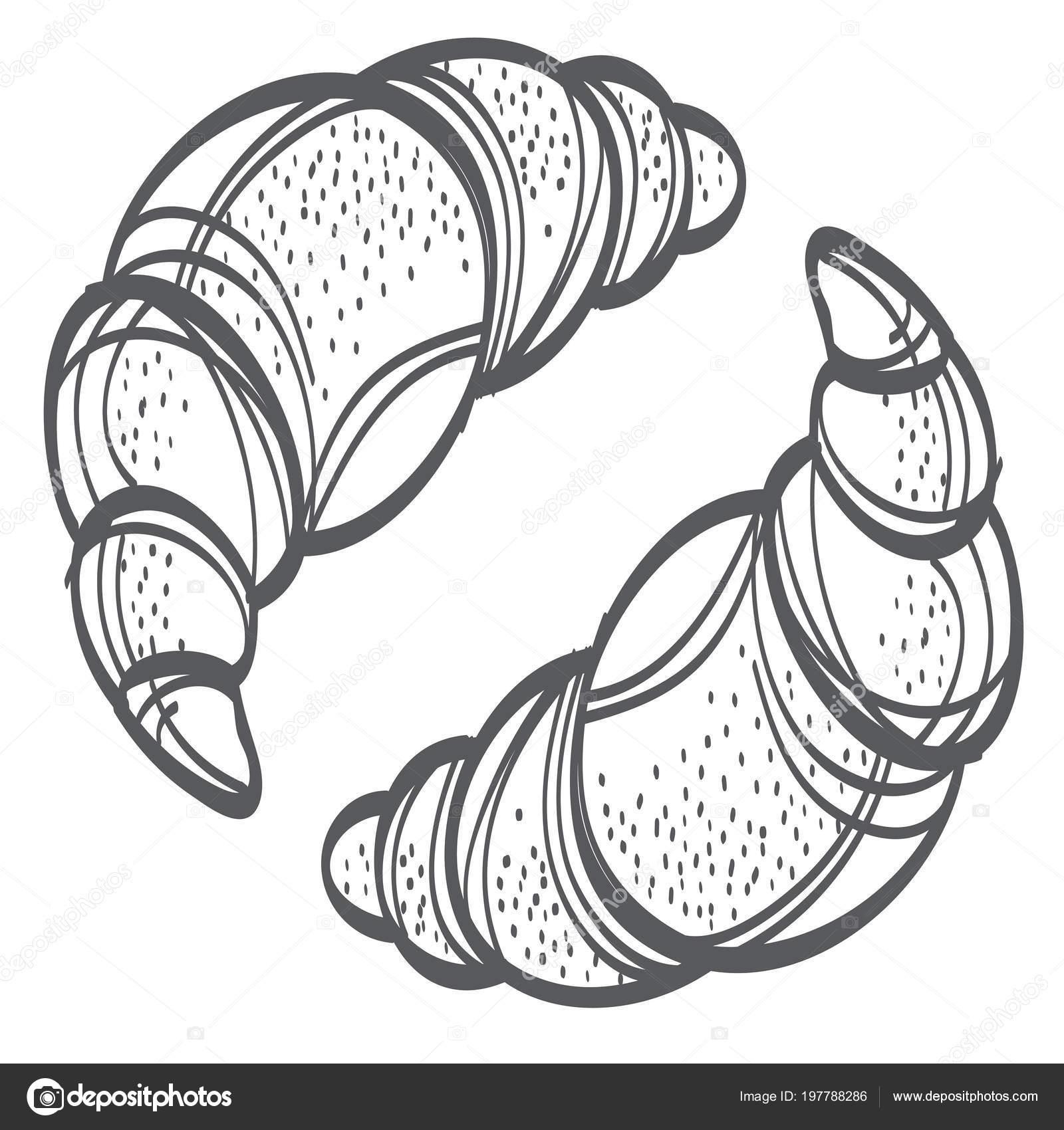 Faire Cuire Four Pate Feuilletee Couleur Design Plat Deux Croissants