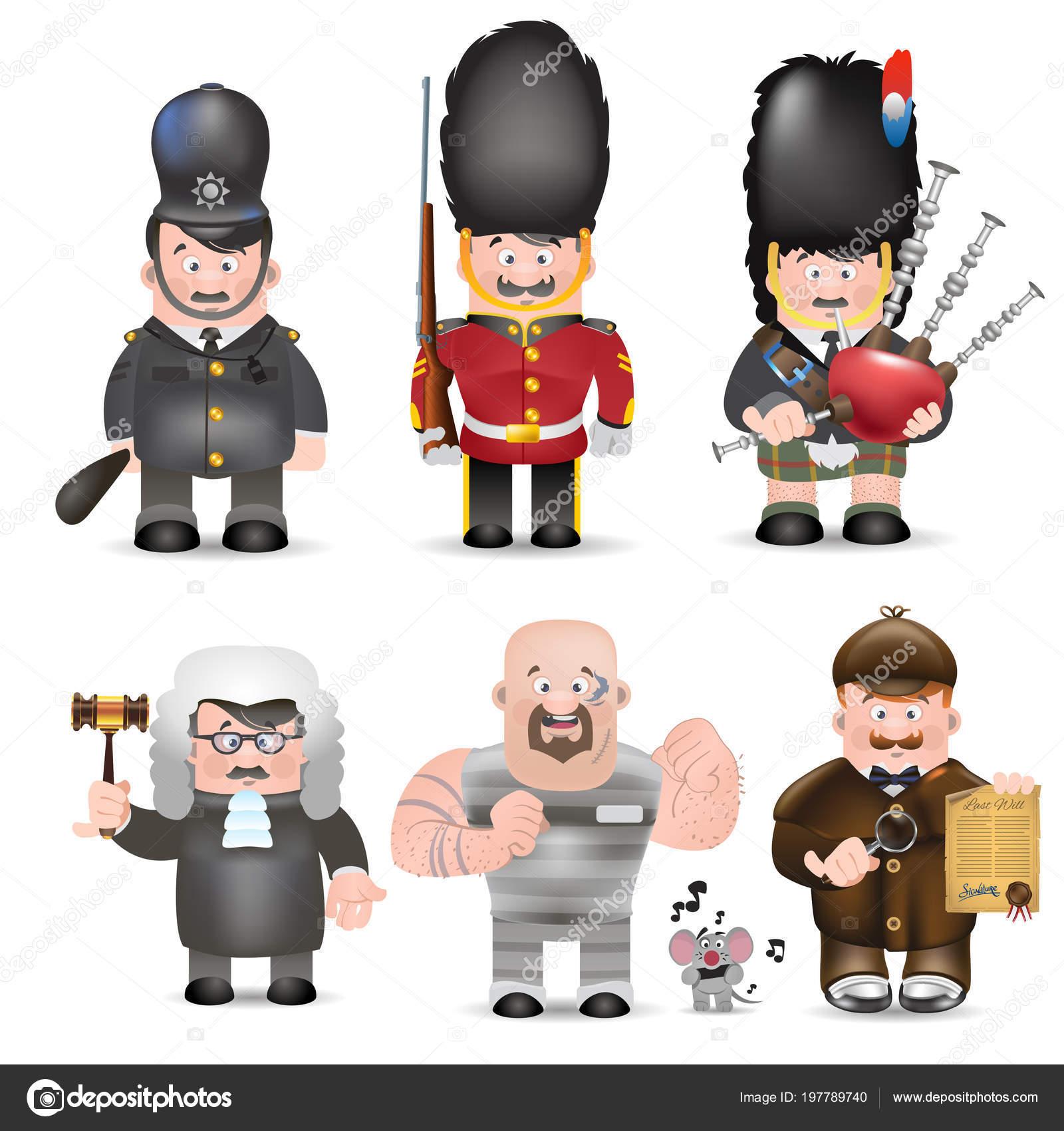 Ensemble Personnages Dessins Animés Garde Royale Scotsman