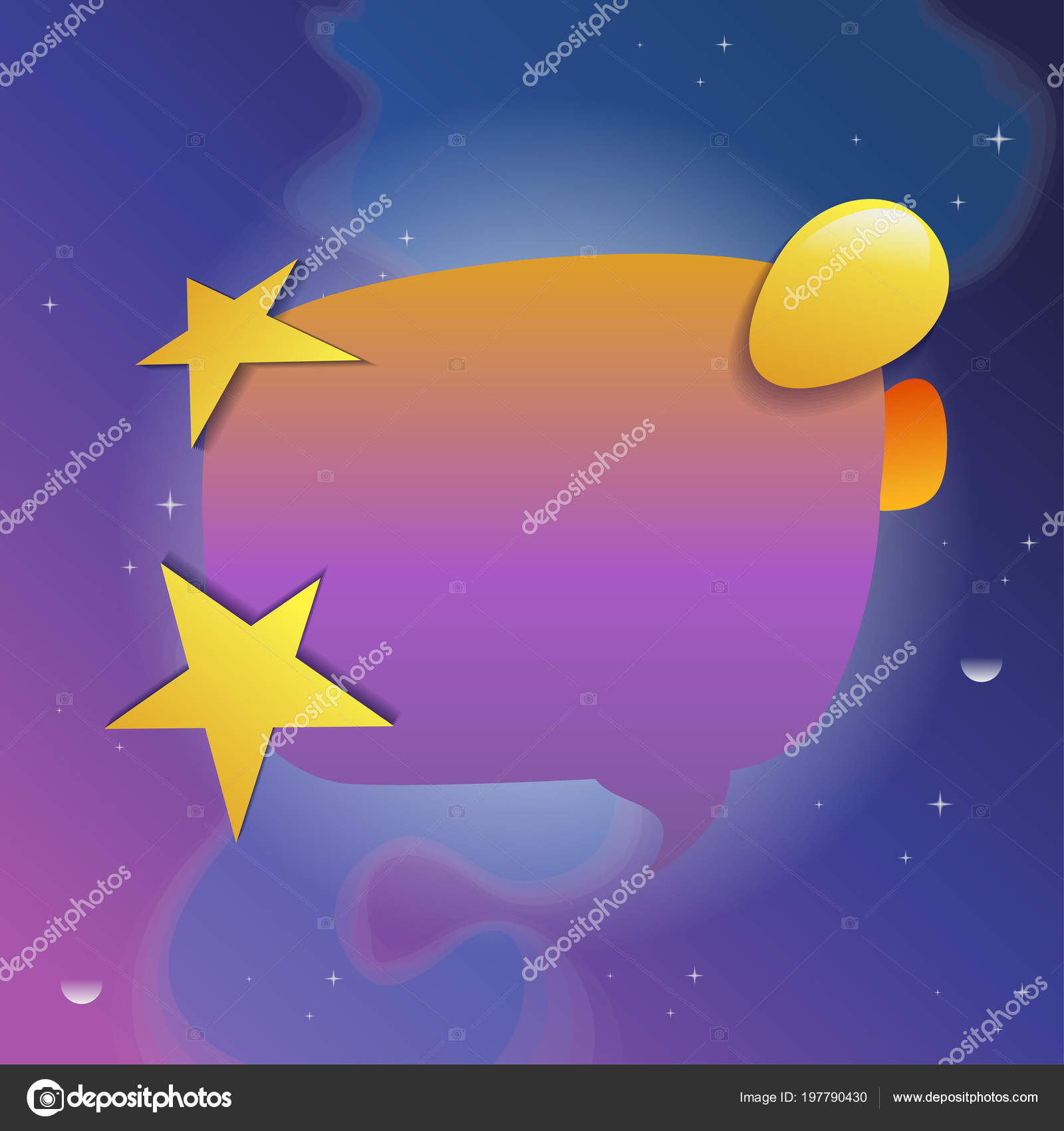 speech bubble stars vector illustration blue violet cosmic