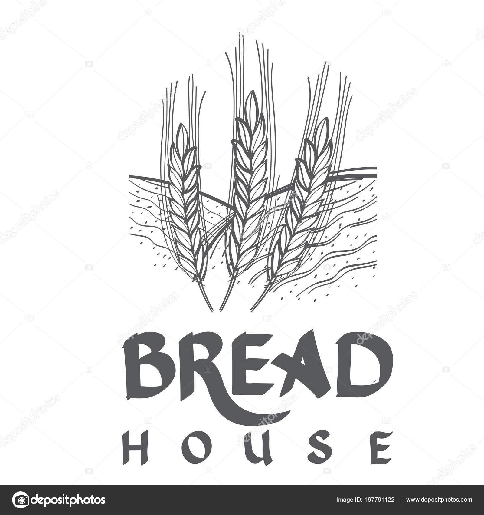 Ekmek Buğday çavdar Deposuyla Amblemi Tek Renkli Vektör Illüstrasyon