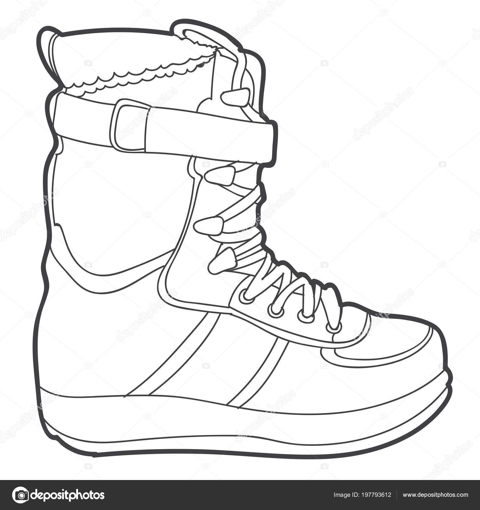 Bota Esquí Ilustración Monocromo Vector Aislado Sobre Fondo