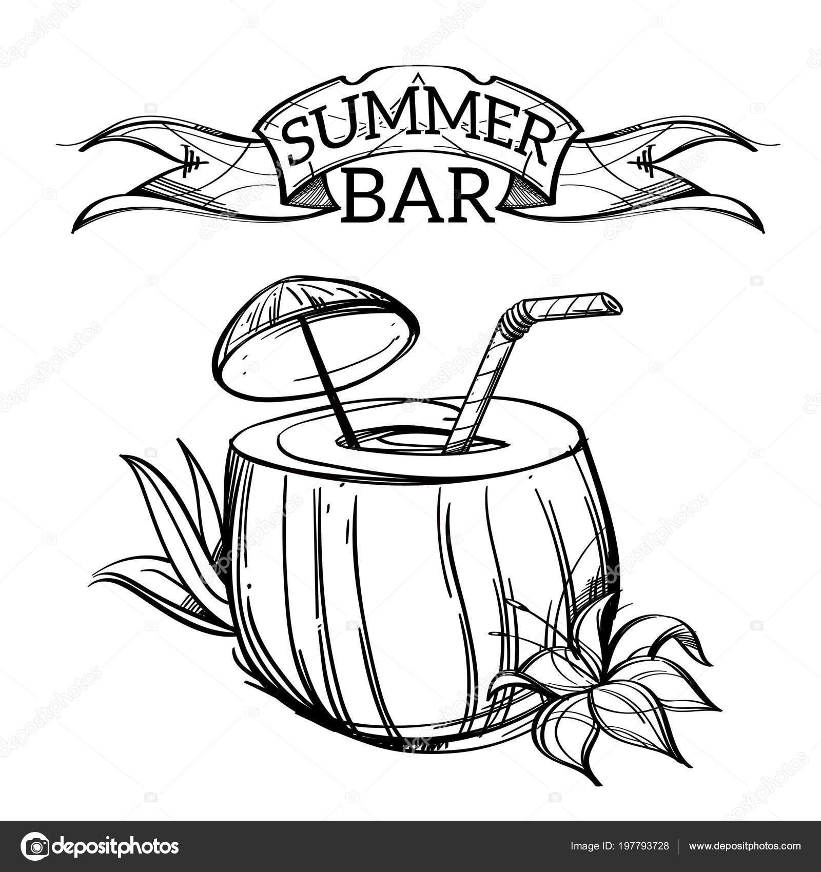 Bar été Noix Coco Cocktail Avec Parasol Paille Illustration
