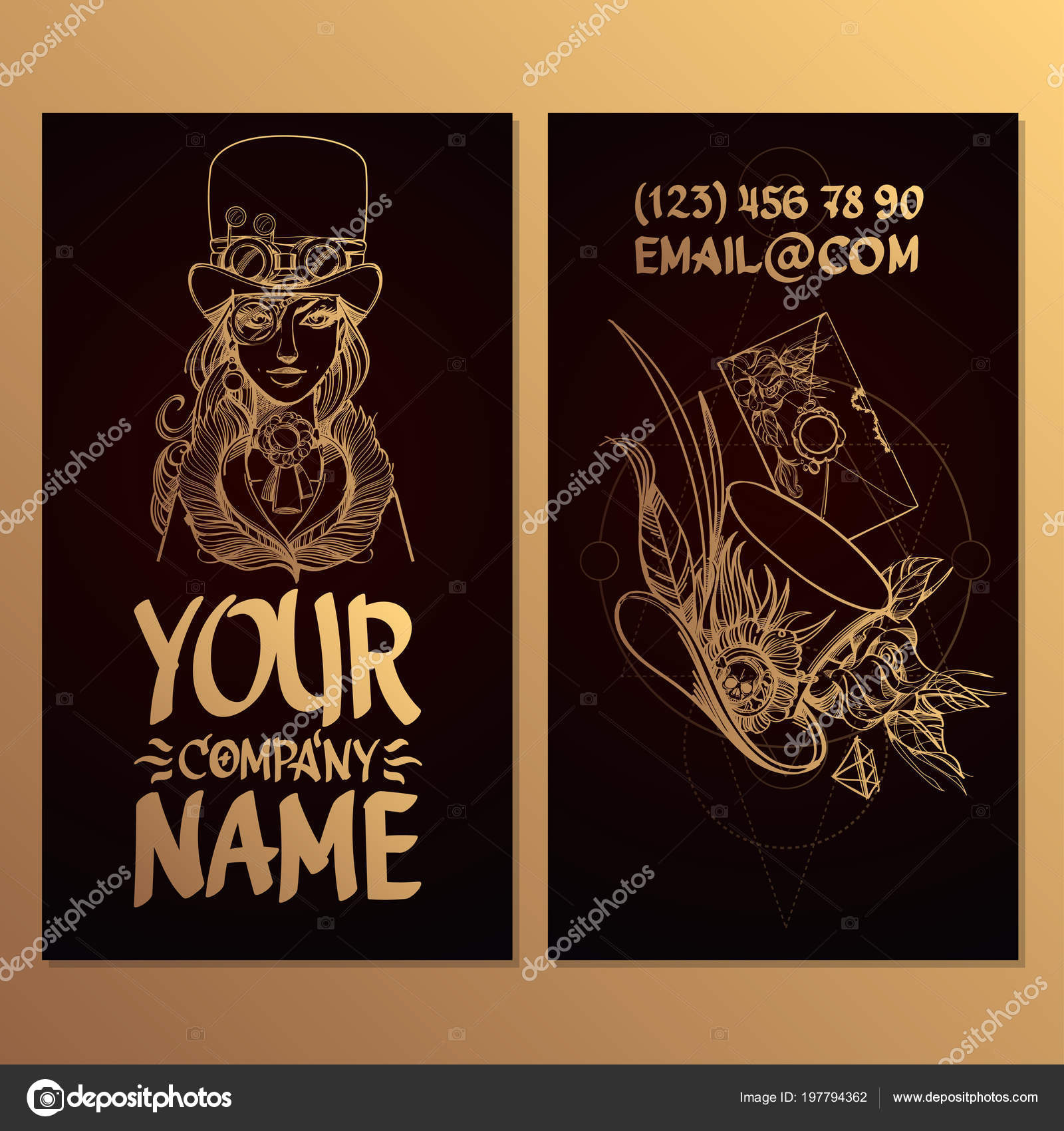 Template Card Woman Hat Style Steampunk Creating Business Cards