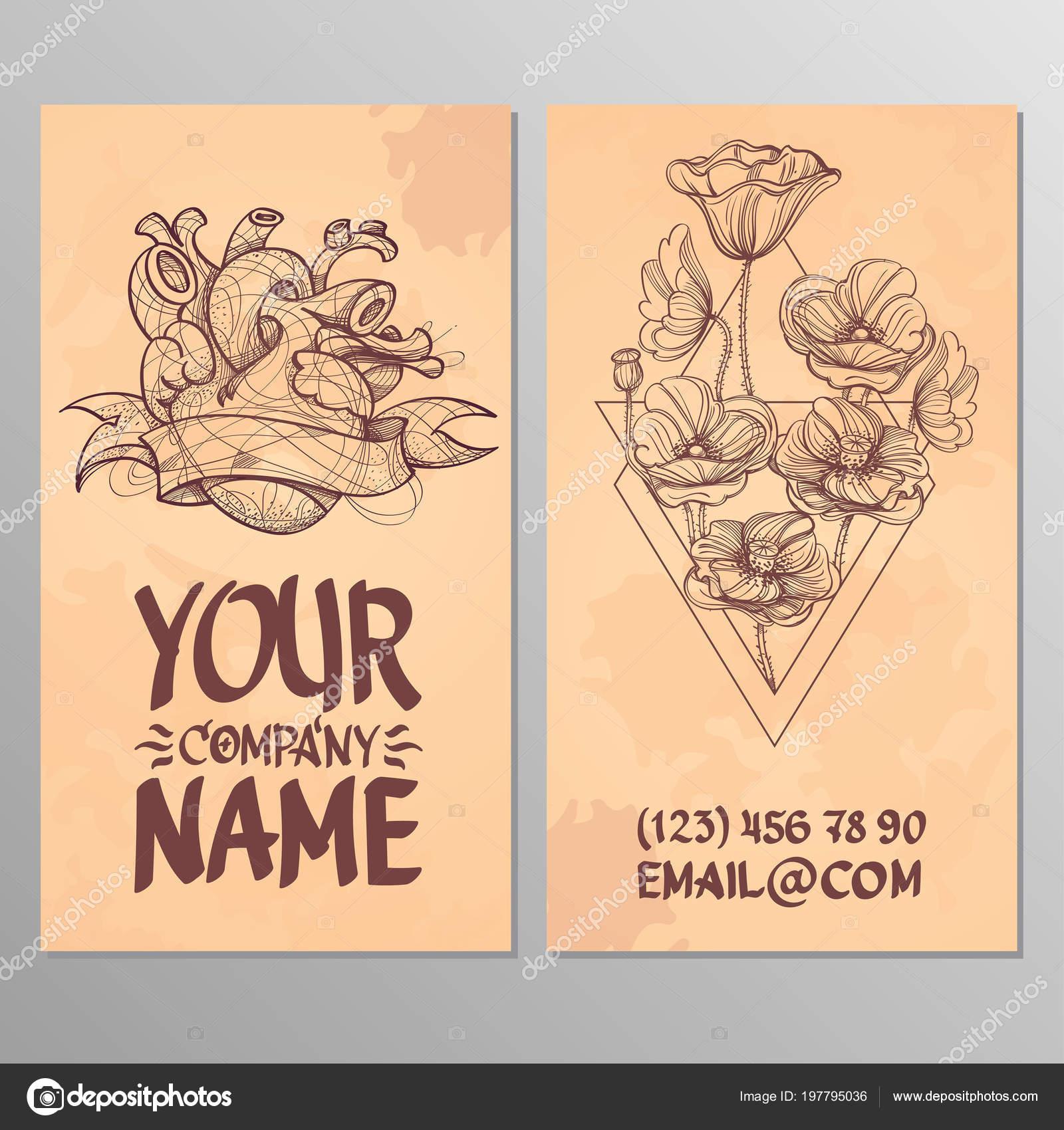 Cartes Avec Limage Du Coeur Et Des Coquelicots Modles Permettant De Crer Visite Affiches Pages Publicitaires Vecteur Par Filkusto