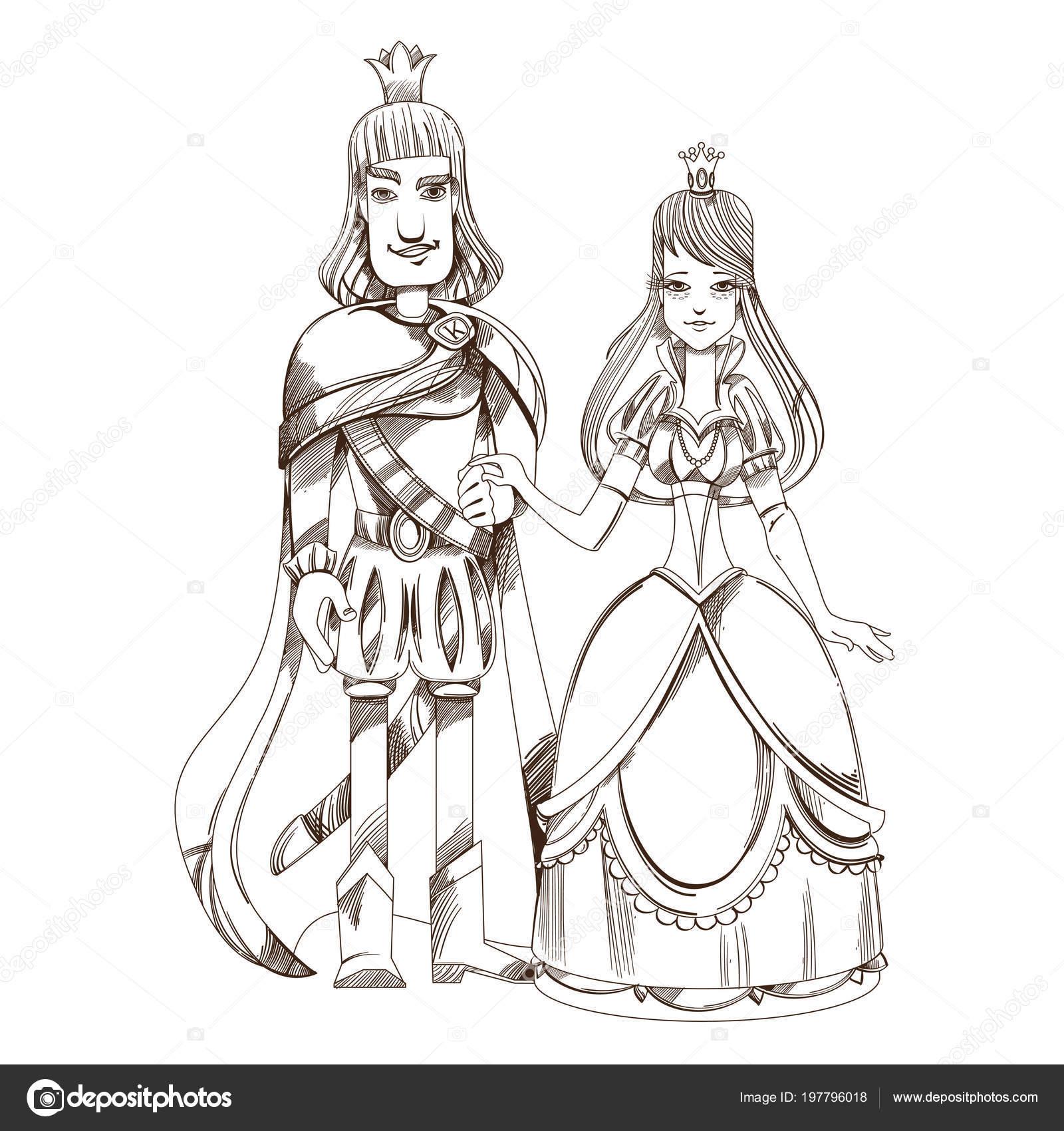 Ilustración Contorneada Príncipe Princesa Para Colorear
