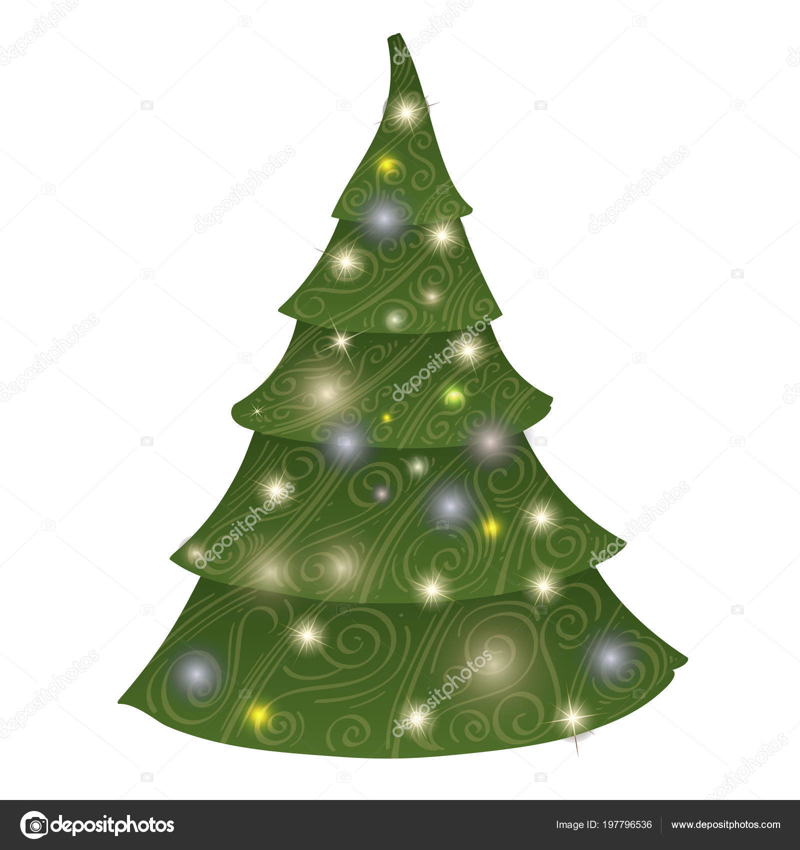 Christmas Tree Stylized Drawing Creation New Year Decor — Stock