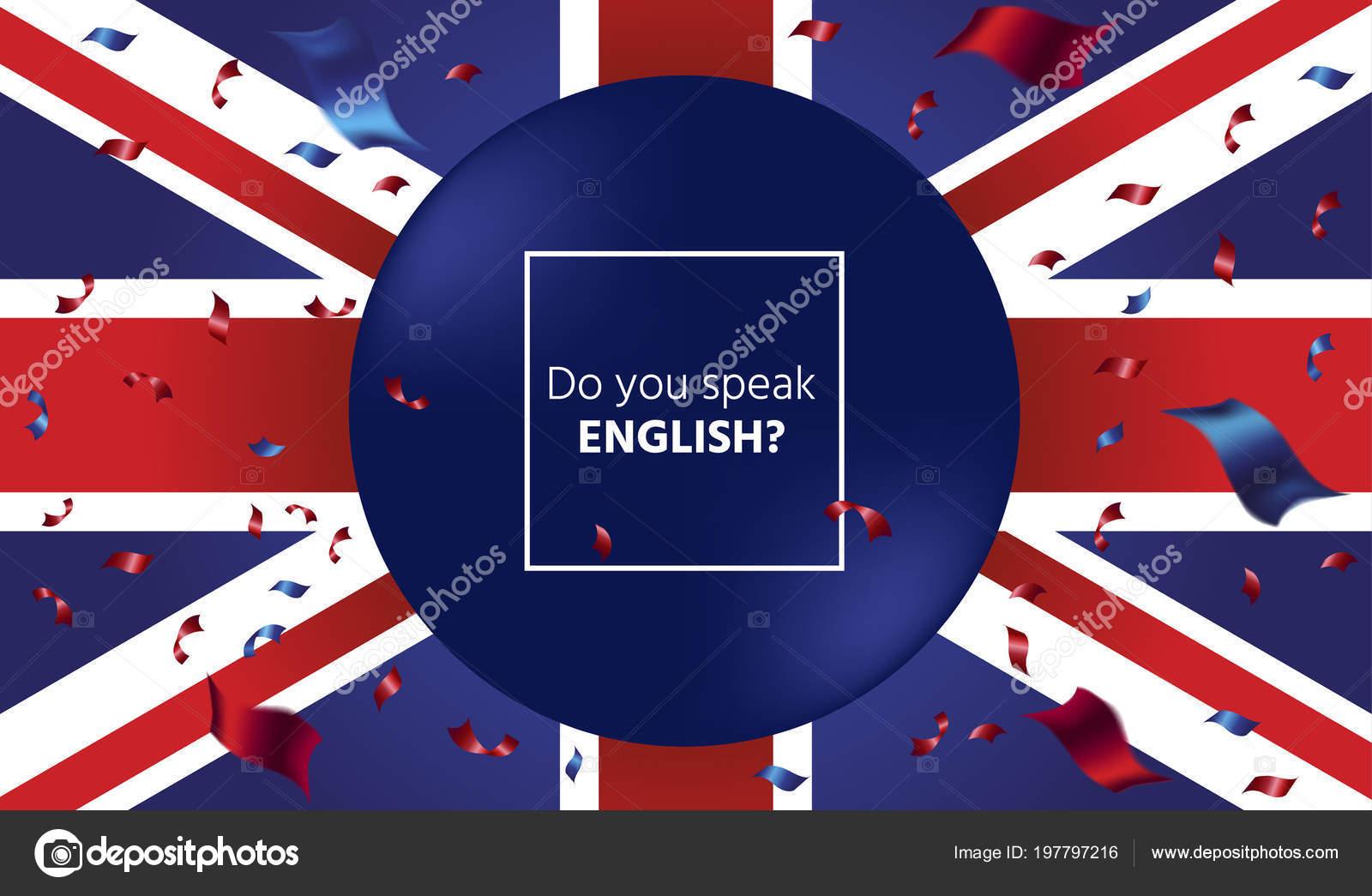 Sfondo Con Bandiera Britannica Frase Parli Inglese Vettoriali