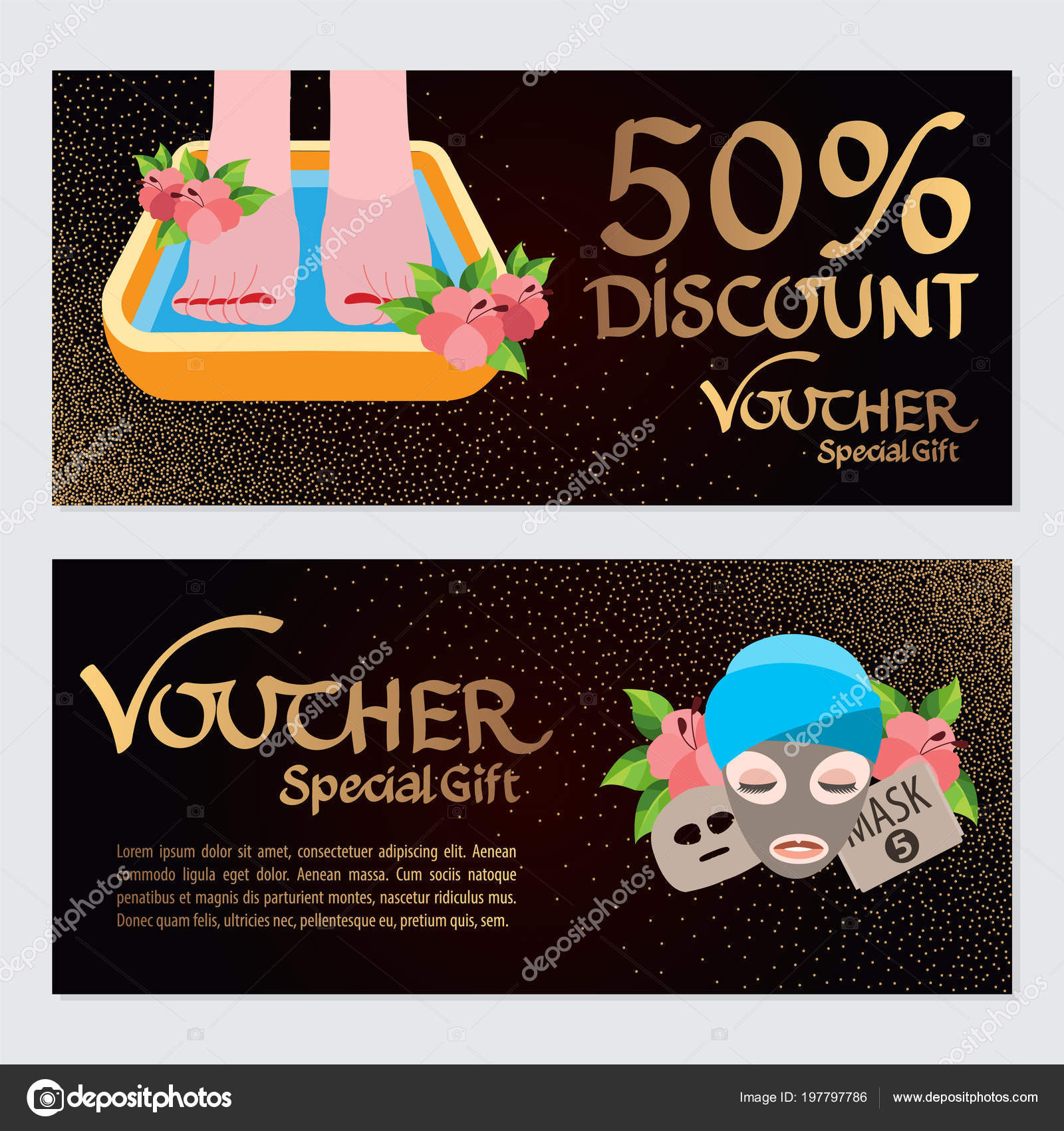 discount voucher template certificate coupon spa beauty salon vector