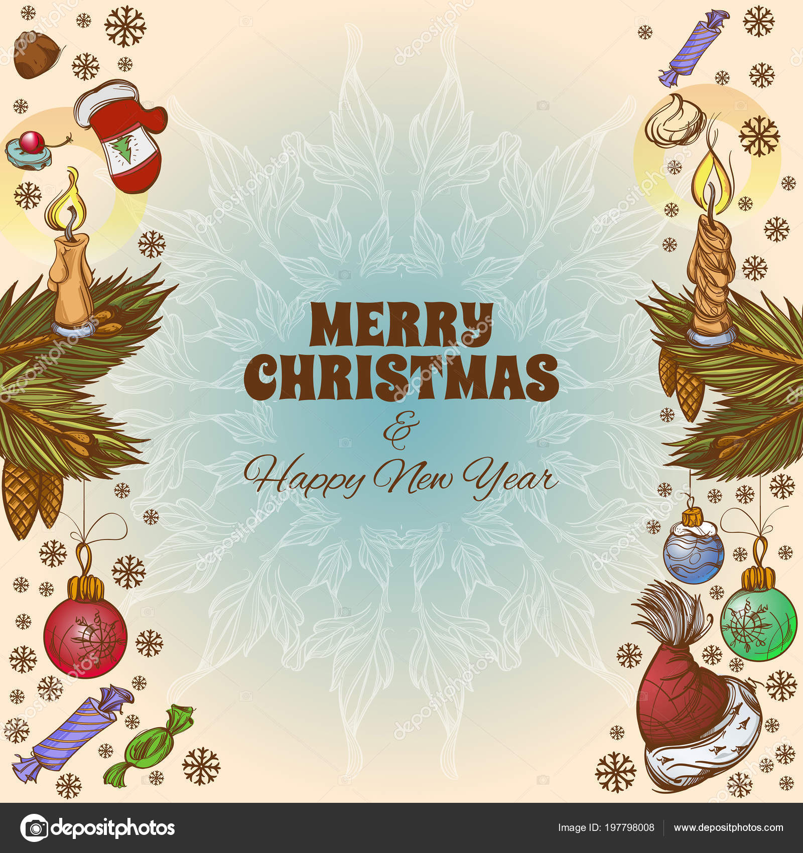 Merry Christmas Happy New Year Vector Illustration Greeting Cards ...