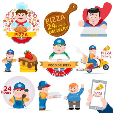 Pizza delivery sticker set with car, superman, rochet and courier isolated on white background. Vector cartoon illustration with lettering