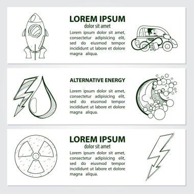Set of cards, or banner, or booklet of vector oil, rocket, electric vehicle, nuclear power and handwritten vintage lettering. Monochrome illustration isolated on white background