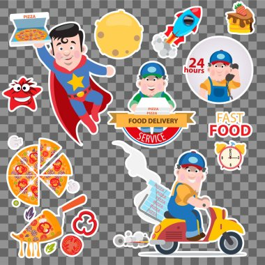 Pizza delivery sticker set with car, superman, rochet and courier isolated on grey background. Vector cartoon illustration with lettering